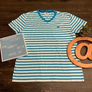 Lacoste White Striped Women's T-shirt Size Medium